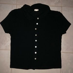 Cropped button down collared t-shirt